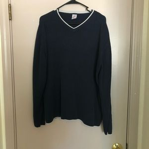 Navy blue sweater.